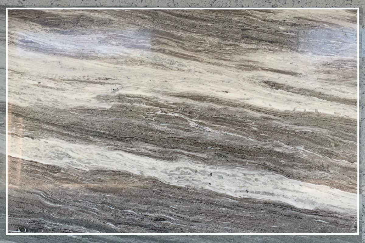 Photo of Fantasy Brown Quartzite countertop slab with cream, tan and warm browns.