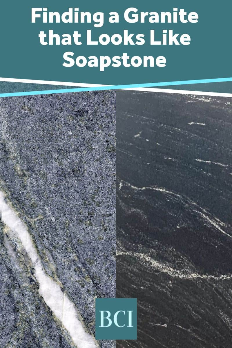 Photo collage of a granite that looks like soapstone. A great choice for kitchen and bath countertops.