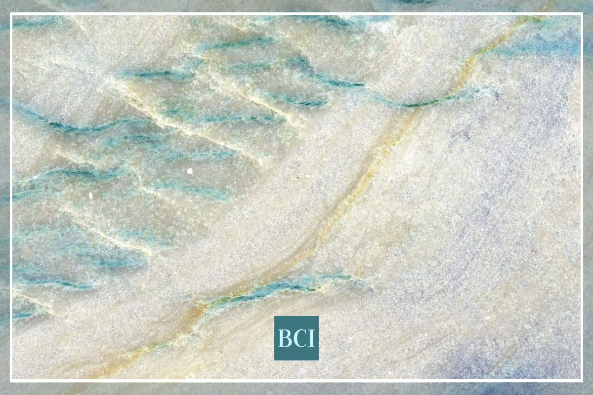 Photo of blue, green, and cream quartzite countertop material