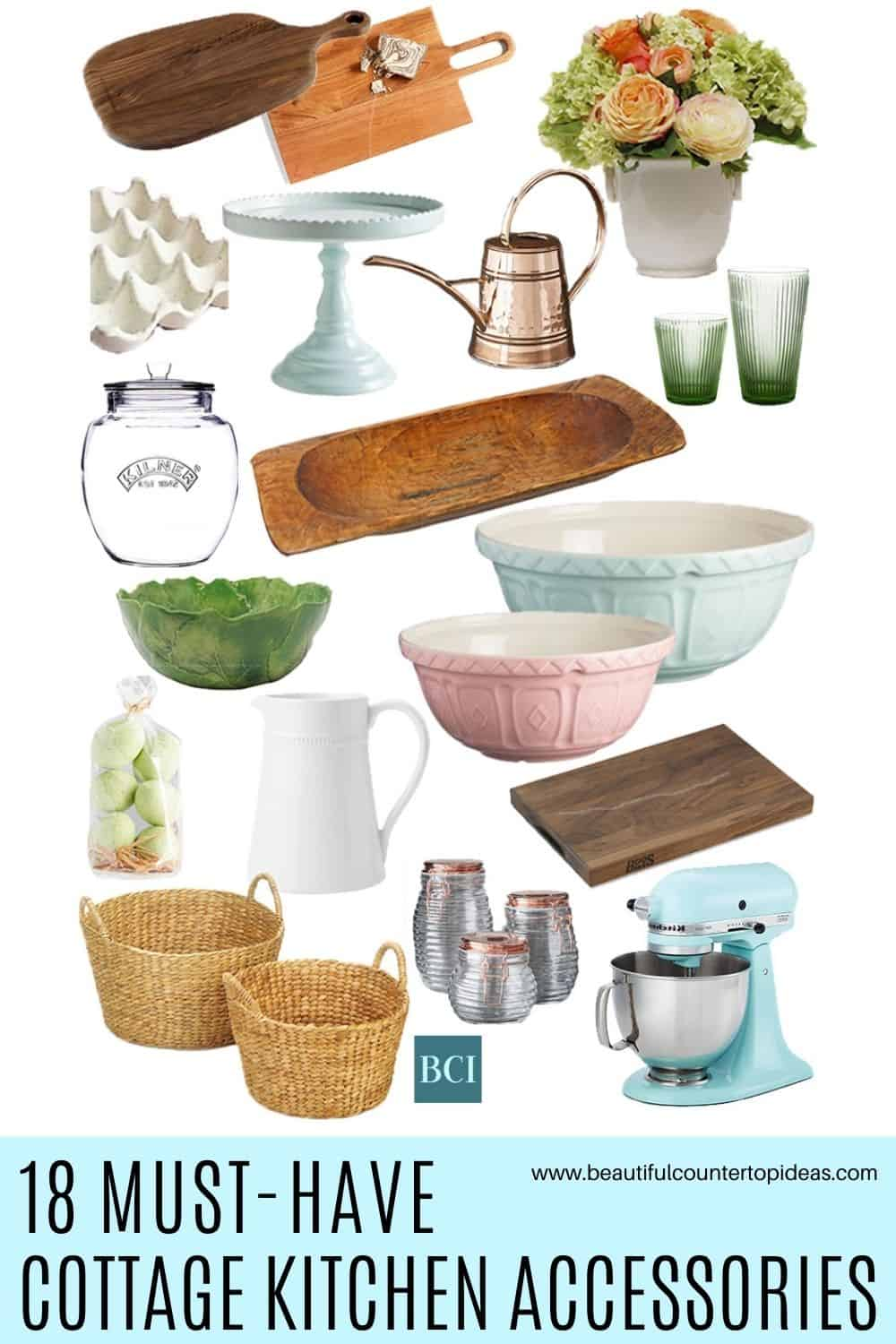 Ready to leave minimalism behind? This collection of cottage kitchen accessories will brighten your countertops with plenty of style and charm.